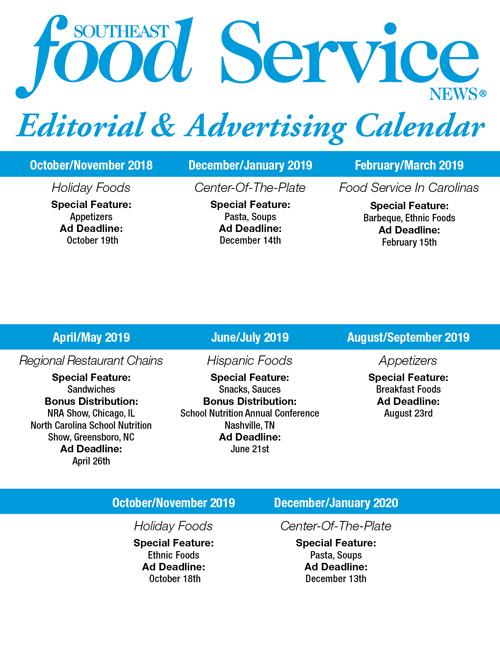 Southeast Food Service - Editorial Schedule